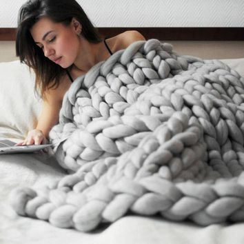 1pcs Handmade Pure Color Chunky Knitted Blanket Wool Thick Line Yarn Throw Sofa Bed Adornment Home Decoration New #10