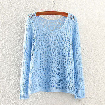 Women's Hollow Blue Solid Comfortable Knit Sweater