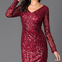 Long Sleeve Sequin V-Neck Dress 262283i by Jump