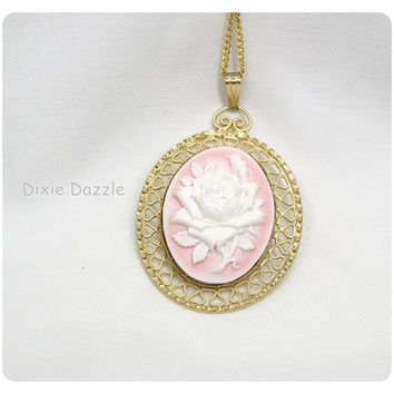 Mother's Day Pink cameo necklace, faux cameo set in vintage 1980's setting, white rose cameo, cameo jewelry, pink necklace by Dixie Dazzle