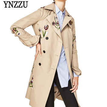 Women Trench Coat 2017 New Autumn Winter Floral Embroidery OL Elegant Flare Sleeve Turn-Down Collar Coats Outwears AO214