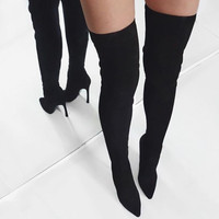 Jasmin Black Suede Leather Boots - Catwalk Connection