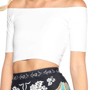 WHITE OFF THE SHOULDER CROP