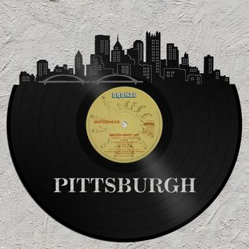 Cityscape Art - Pittsburgh Skyline, Custom Wall Decor, Vinyl Wall Art, Unique Vintage Gift, Pittsburgh City Art, Wall Decoration Art