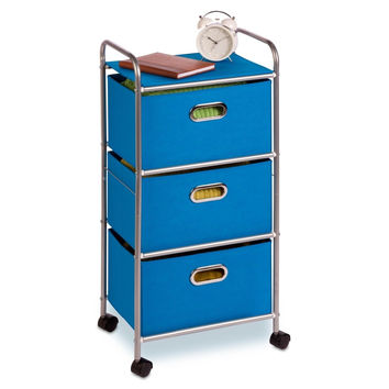 Honey-Can-Do CRT-02347 Fabric Rolling Cart with 3 Drawers Blue