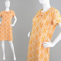 Vintage 60s Mod Dress Orange Floral Brocade Crimplene Dress Wiggle Dress Womens Large Dress Jersey Dress 1960s Shift Dress Cute Mod Dress