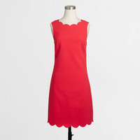 Factory fitted-waist scalloped trim dress : Women | J.Crew Factory