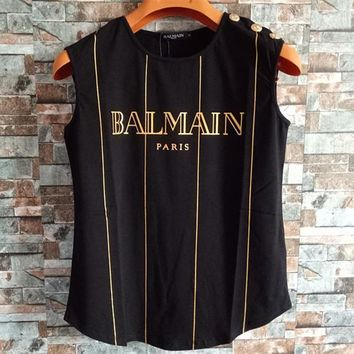 Balmain Women Fashion Classic Bronzing Stripe Letter Vest Buttons Decoration Sleeveless Cotton T-shirt Tops