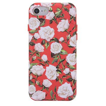 White Roses Floral iPhone Case