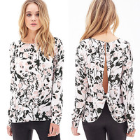 Print Cross Backless Chiffon Shirt