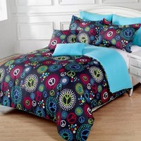 7 Pieces Multi-Colored Peace Sign Black Comforter Set Full / Queen Size Bedding