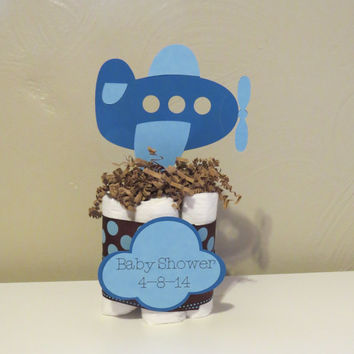 Airplane Mini Diaper Cake Centerpieces for baby shower or gift