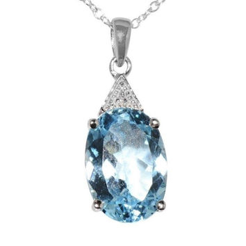 925 Sterling Silver 7ct Blue Topaz and .003ct Diamond Necklace