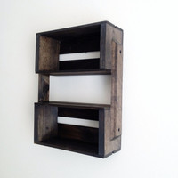 SALE Small Wooden Crate Hanging Shelf Wall Fixture- Shelves for Spice Rack, Bathroom, Decor, Kitchen, Bedroom