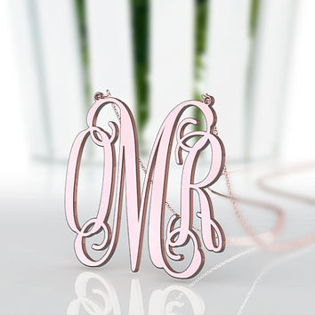 Girl's present monogram necklace--personalized 3 initial nameplate 1.25  monogram necklace jewelry