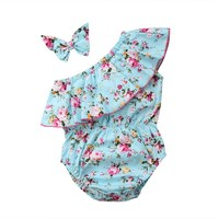 Infant Toddler Baby Girl Off Shoulder Romper +Headband  Sunsuit cotton Cloth 0-24M Baby Clothing