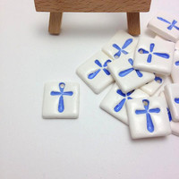 Blue Cross Tiles, Cross Pendants, Martyrika, Martirika, Μαρτυρικά, Witness Pins, Favors, Baby boy, Boys Baby Shower, Baptism Accessories