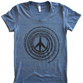American Apparel Tri-Blend Short Sleeve Women's Vintage Track Tee with Peace Font Swirl graphic print