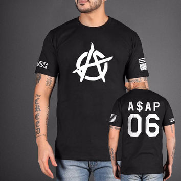 ASAP black 06 Men's T-Shirts Fashion Hip Hop streetwear mma Brand clothing Streetwear Fitness A$AP Cotton Funny tshirt homme