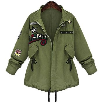 2016 autumn winter plus size 5xl women military bomber jacket basic coat army green casacos jaqueta feminina chaquetas mujer