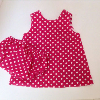Baby Dress Reversible Pinafore Dress Open Back Dress Diaper Cover 0-3 Mo, 3-6, Mo, 6-12 Mo, 12-18 Mo, 18-24 Mo