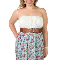 plus size strapless floral dot printed belted casual dress - debshops.com