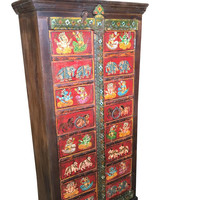 Vintage Indian Rustic Antique Hand painted Ganesha Bohemian Cabinet Armoire Traditional Indian boho Country Chic Doors