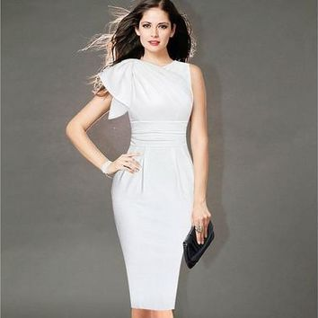 2015 New Womens Celebrity Retro Elegant Ruffle Sleeve Ruched Party White/Black Evening Prom Fitted Stretch Wiggle Pencil Sheath Dress  [9305610503]