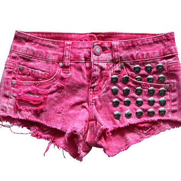 "24"" - 35"" Bright Pink Shredded & Silver Round Studded Jean Shorts"