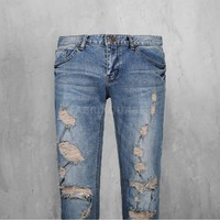 Mens SL Destroyed Denim Skinny Jeans at Fabrixquare