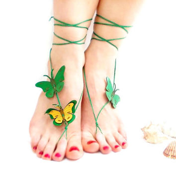 Barefoot sandal, Emerald, Green, Butterfly Anklet, Genuine leather butterfly, chamois leather, Anklet, Green sandal