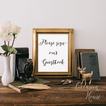 Please Sign Our Guestbook Wedding Sign Printable Wedding Guest Book, Guestbook sign