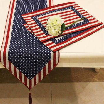 American Flag Table Runners And Placemats Embroidery Table Cloth Polyester Table Runner For Wedding Home Decor Chemin De Table
