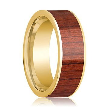 Mens Wedding Ring Polished 14k Yellow Gold Flat Wedding Band with Padauk Wood Inlay - 8mm
