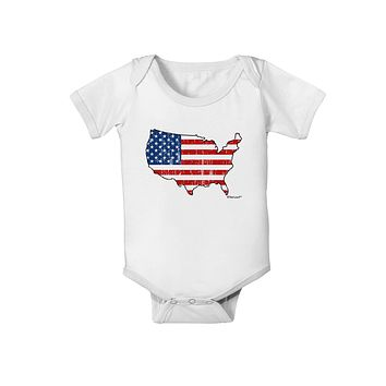 United States Cutout - American Flag Distressed Baby Romper Bodysuit by TooLoud