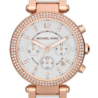 Michael Kors Women's Chronograph Parker White Acetate and Rose Gold-Tone Stainless Steel Bracelet Watch 39mm MK5774