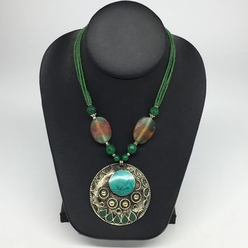 Turkmen Necklace Afghan Ethnic Tribal Turquoise Inlay Beaded Pendant Necklace VS165