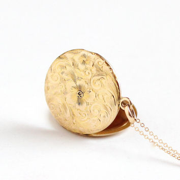 Antique 10k Rosy Yellow Gold Art Nouveau Flower Locket Necklace - Vintage Edwardian 1910s Round Floral Pendant LEC Intials Fine Jewelry