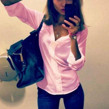V-Neck Long-Sleeved Solid Color Shirt Blouse Tops