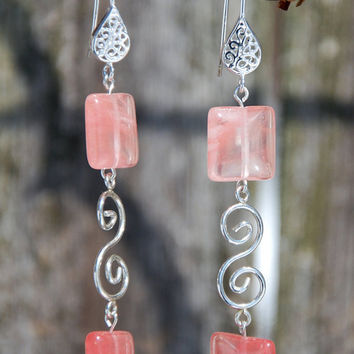Cherry Quartz earrings with sterling silver earrings. Handmade Cherry Quartz Earrings and Sterling Silver. Silver teardrop filigree earrings