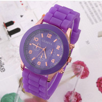 Men Women Unisex Analog wrist Silicon Sport Watches Purple