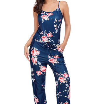 Floral Wide Leg Jumpsuit In Blue LAVELIQ