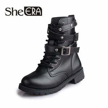 Classic Motorcycle Ankle Waterproof Hiking Vintage Rivet Combat Army  Boots