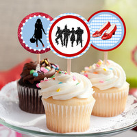 """The Wizard of Oz - Download 2.25"""" Cupcake Toppers, Printable Birthday Party Gift Tags, Toppers, Boy Girl Stickers, Gift Tags - Dorothy Ruby"""