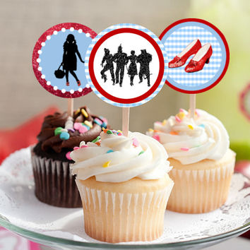 "The Wizard of Oz - Download 2.25"" Cupcake Toppers, Printable Birthday Party Gift Tags, Toppers, Boy Girl Stickers, Gift Tags - Dorothy Ruby"