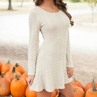 FASHION LONG-SLEEVED SWEATER DRESS +FREE GIFT -RANDOM NECKLACD
