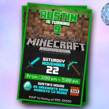 Minecraft Birthday Edition Design For Digital File, Birthday Invitation by SaphireInvitations