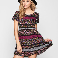 Ali & Kris Folk Print Babydoll Dress Black  In Sizes
