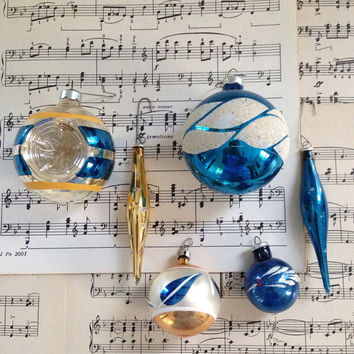 Blue and gold vintage shiny brite ornaments