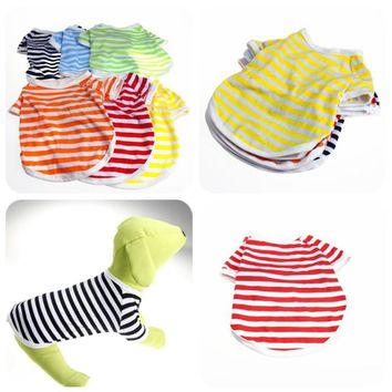 Striped Cheap Dog Clothes for Small Dogs clothing Chihuahua Puppy spring summer shih tzu yorkie pet supplies with free shipping